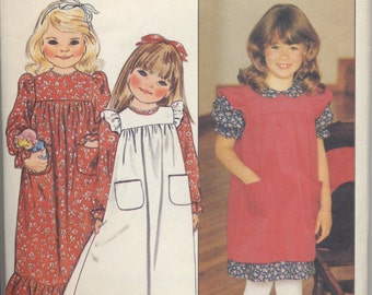 Vintage Girl's Dress Pattern - Adorable Pinafore - Size 2-3-4, Butterick 4574