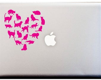 Cat LOVE Heart Silhouette Decal Kitty Meow Cat Lover Laptop Or Car Decal