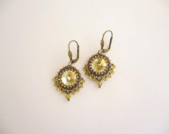 "Swarovski earrings ""Sari"" in sunny yellow and brass colors"