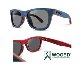 Skateboard Wood Sunglasses Polarized Polarized WOOED Vintage Pacific | Skateboard Blue Wooden Sunglasses, Bamboo Sunglasses, 7-ply