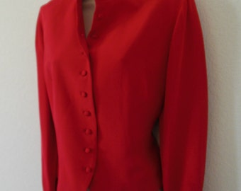 Vintage Red 100% Silk Jacket by Jerri Sherman Collection  Sz 6