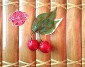Gorgeous handmade red glitter cherry and leaf hair clip by Rosie Alia Designs - vintage inspired, rockabilly cherries hair flower