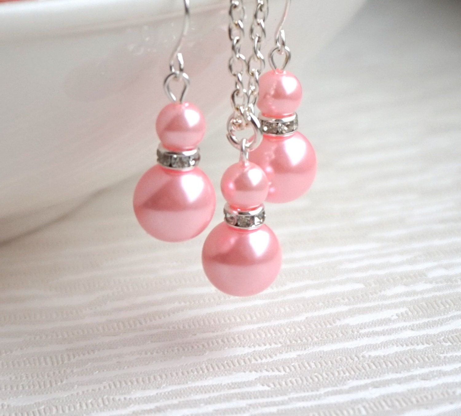 Bridesmaid jewelry set pink pearl set necklace earrings flower for Pink wedding jewelry sets