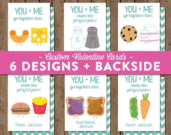 Valentine Cards for Class - PRINTABLE - Perfect Pair - Milk Cookies - Peanut Butter and Jelly - You and Me Go Together - Personalized