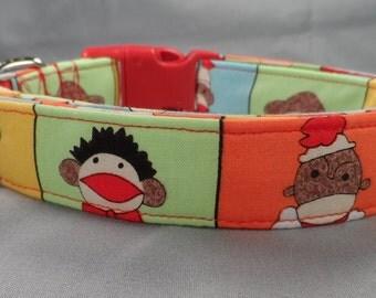 Colorful Sock Monkey Dog Collar