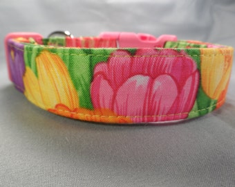 Dog Collar Cute Spring Tulips