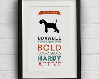 Lakeland Terrier Dog Breed Traits Print - Great Gift for Lakeland Terrier Lovers!