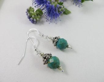 Turquoise Earrings, Turquoise Bali Earrings, December Birthstone Earrings, Sterling Silver Earrings, Bali Sterling Silver Blue Drop Earrings