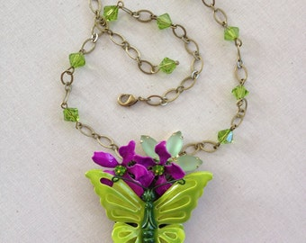 Purple and green enamel flower butterfly collage necklace, repurposed brooch necklace, spring, green, purple, floral, collage, butterfly