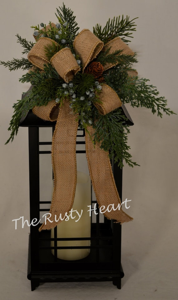 Christmas lantern swag with burlap ribbon for Burlap ribbon craft ideas