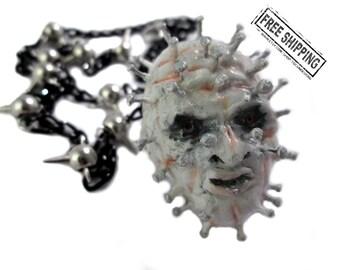 Hellraiser necklace horror movie cenobite hellraiser pinhead clive barker s&m demon scary jewelry creepy jewelry horror jewelry psychobilly