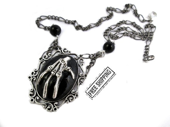 Gothic jewelry skeleton hand necklace - goth jewelry gothic cameo necklace elegant gothic lolita gothic victorian deathrock gothic choker