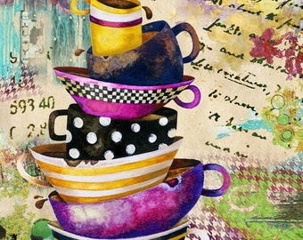 Art Print. Coffee Cups Divine. Dreamy Edition