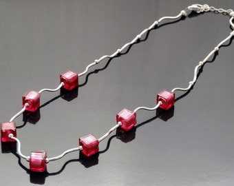 Pink Ruby Venetian Glass Bead and Sterling Silver Necklace