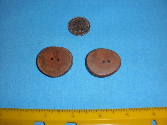 2 Red Cedar Tree Branch Wood Buttons 2 Holes 1 1 4