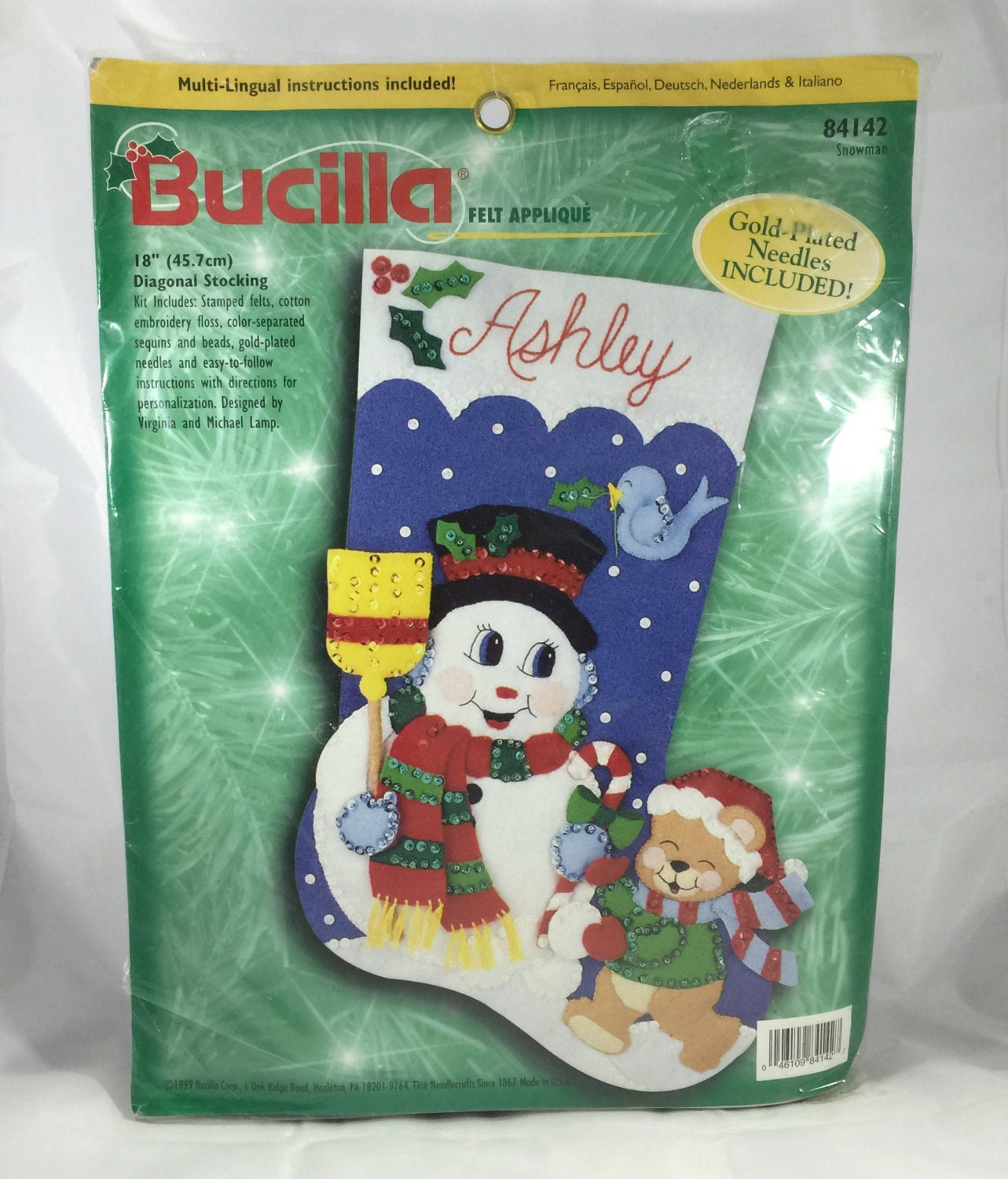 Sale Bucilla Felt Christmas Stocking Kit Snowman And Teddy