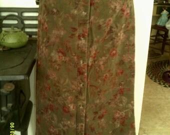 Womens Vintage Corduroy Maxi Skirt, size 6 Eddie Bauer, Corduroy Skirt 6, Maxi Skirt 6, Winter Skirt 6, Button Down Maxi 6, Long Skirt, 6
