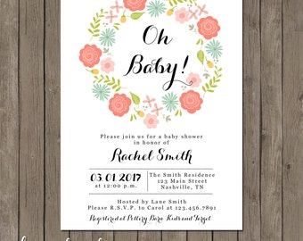 Printable Baby Shower Invitation - the Monica Collection