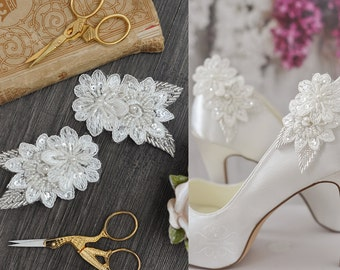 Bridal Lace Shoe Clips Wedding Shoe Clips - Set in Ivory - Wedding Bride Bridal Accessory