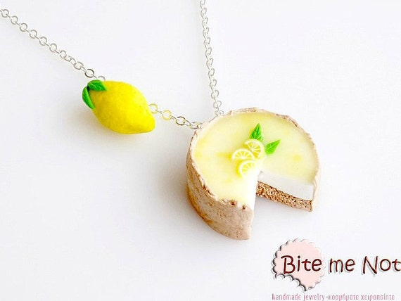 SCENTED Lemon Pie and Lemon Necklace Mini Food Jewelry, Miniature Food, Polymer Clay Charms, Food Jewelry, Kawaii Jewelry