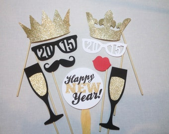 9 New Years Photo Booth Props - 2016 Photobooth Props - New Years Eve Party Props