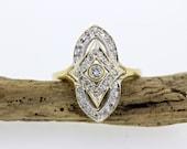 Vintage Shield Ring | Navette Ring | Diamond Ring | 10k Yellow Gold Ring | Alternative Engagement Ring | 1950s Estate Ring | Size 6 1/2