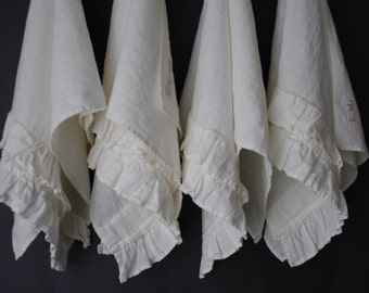 LINEN GUEST towels SET of 4 piece with ruffles. Linen kitchen or hand towel. Made by mooshop.