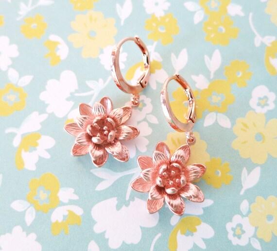 Rose Gold Lotus Flower Earrings - simple rose gold earrings with lotus flower dangle, bridesmaid earrings, garden weddings, pink gold