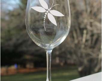 Etched Wine Glasses, Dragonfly Wine Glass, Etched - 12oz,  Wine Glasses, Dragonfly, etched wine glasses