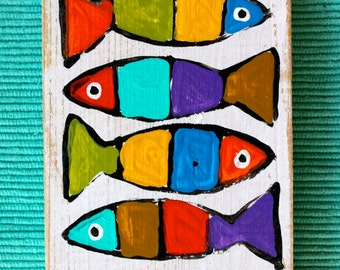 hand painted wooden magnet