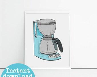 Items Similar To Printable Wall Art Kitchen Caffeine