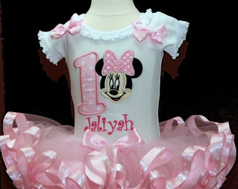 Adorable Minnie Mouse Birthday Tutu Outfit, ribbon trim tutu, 1st birthday tutu outfit, birthday tutu, 1st birthday outfit girl, tutu dress