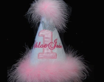 Pink and Silver Birthday Hat with Silver Crown and Marabou Trim
