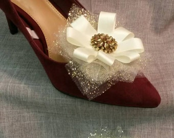 Gold Tulle  Shoe Clips