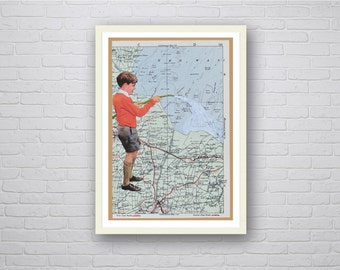 Retro Collage Art Map Art Print from Original Collage English School Boy On UK Map Humour - The Wash