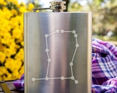 Gemini Constellation Customizable Etched Stainless Steel Flask/ Flask Giftset Barware Gift
