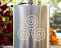 Celtic Triple Spiral Customizable Etched Stainless Steel Flask/ Flask Giftset Barware Gift