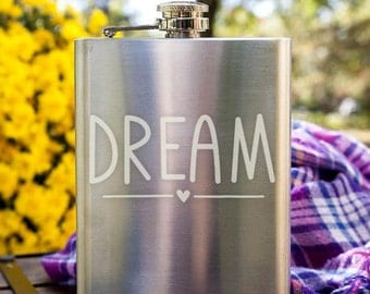 Cute Dream Typography Customizable Etched Stainless Steel Flask Barware Gift