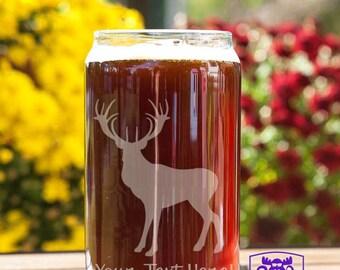 Standing Buck Deer Customizable Etched Beer Can Glass Glassware Gift
