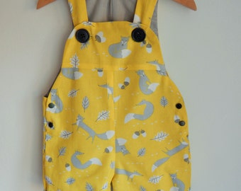 The Yellow Fox Short Dungaree/Romper/Overall -- Baby Toddler Sizes 0-3yrs Made to order