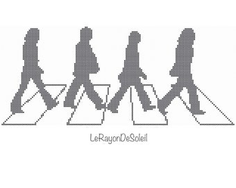 The Beatles cross stitch pattern Abbey road The Beatles silhouette.