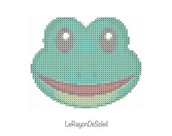 Emoji frog cross stitch pattern PDF instant download.