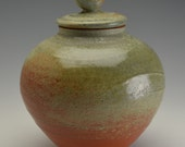 Memorial / Cremation Urn with sculpted bird #3 and softly muted tones of blue/green/grey and ocher