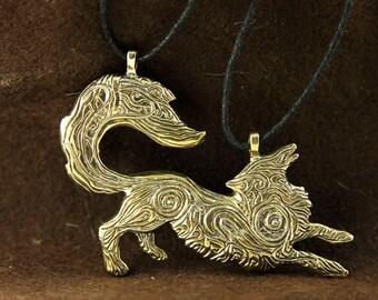 Fox bronze pendant necklace