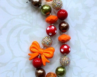 fall chunky bubblegum bead necklace fall girls brown aqua orange red necklace girl necklace chunky necklace pearl rhinestone 20mm bead girl