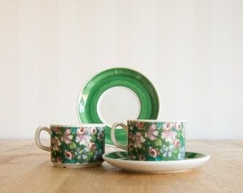 Rorstrand Gefle Gron Grön Flox Set of 2 tea cups and saucers