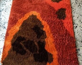 Groovy Vintage Danish Modern Rya Shag Rug in Hues of Orange Rust and Browns