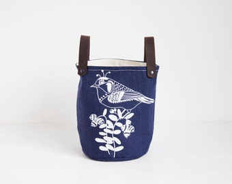 Navy blue Fabric Basket, Blue linen storage, Fabric container, Fabric planter, Screen printed Bird design