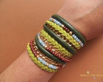 Leather Wrap Bracelet, Green Boho Bracelet, Braided Bracelet, Beaded Bracelet, Triple Wrap