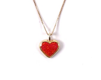 "Heart Charm Necklace – Gold Plated on Sterling Silver Pendant with Handmade Backdrop - 16.5"" Chain – Cute Charm Jewelry Gift Idea for Girls"